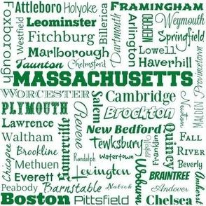 Massachusetts cities, white and green