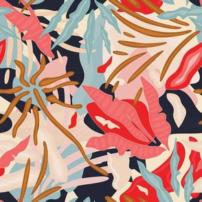 Colorful Abstract Jungle / Tropical Plants - Small Scale