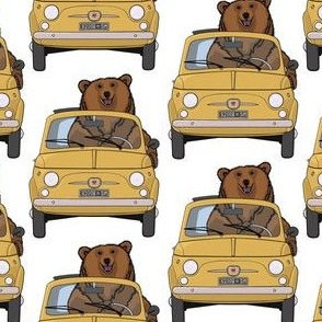 Bear driving a mustard yellow car