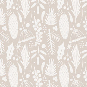 winter botanical  - beige and creme