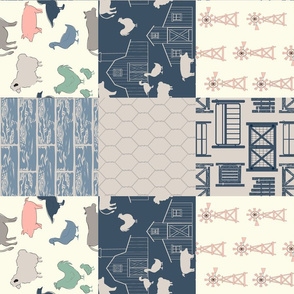 Farm Life Cheater quilt in Navy _ Pink