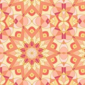 kaleidoscope mandala coral peach pink yellow