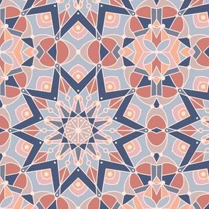 kaleidoscope mandala desert, slate blue, terracotta