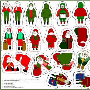Christmas Santa and Mrs. Claus Cut and Sew Doll Ornaments Group2