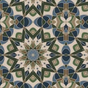 kaleidoscope mandala, slate, navy, tan, olive
