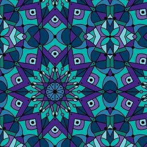 kaleidoscope mandala teal purple turquoise blue 3