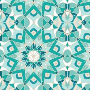 kaleidoscope mandala, turquoise, tan, white
