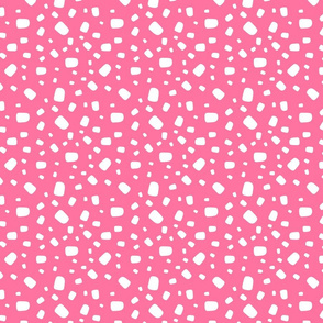 White abstract vector shapes over pink background seamless pattern