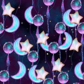 new year moon star balloons