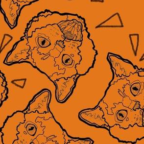 Large Scale Halloween Cats on Orange