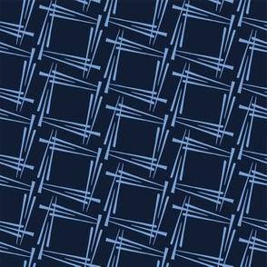Modern indigo blue geometric hand drawn square.