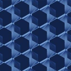 Modern indigo blue geometric hand drawn 3d cube pattern.