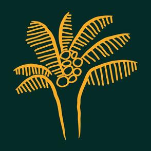 "Gold Palm Tree on Deep Green - 18"" Cushion Sized"