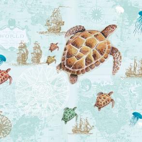 Sea Turtle Travels - blue