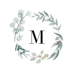 Eucalyptus letter M monogram blanket