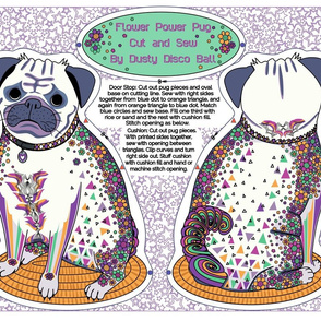 Flower Power pug - cut and sew