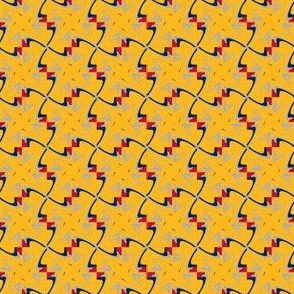 Mustard Yellow with Navy Blue Silver Red Swirl