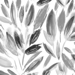 Noir watercolor leaves