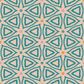 Abstract teal floral tile