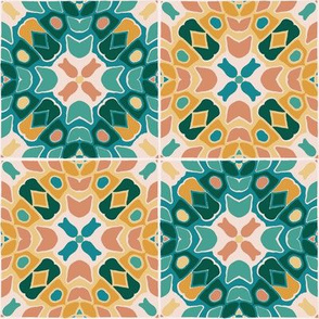 Abstract floral tiles in teal and Earth tones