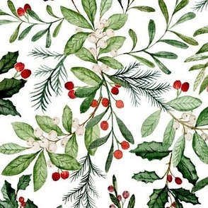 Mistletoe and Holly Christmas Florals // White