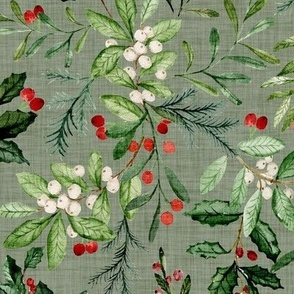 Mistletoe and Holly Christmas Florals // Sage Linen