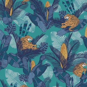 Lazy tiger in the jungle blue