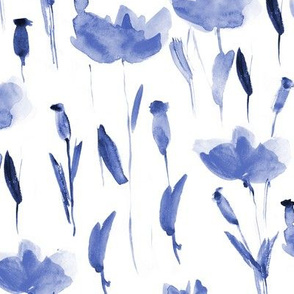 Watercolor indigo poppies