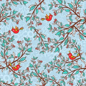 Holly and birds - small