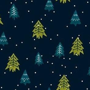 Christmas Pine Trees-DarkTeal