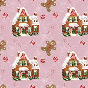 Gingerbread Christmas House on Pink