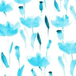Aqua watercolor poppies