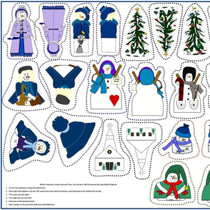 Winter Cut and Sew Doll Ornaments Victorian Group