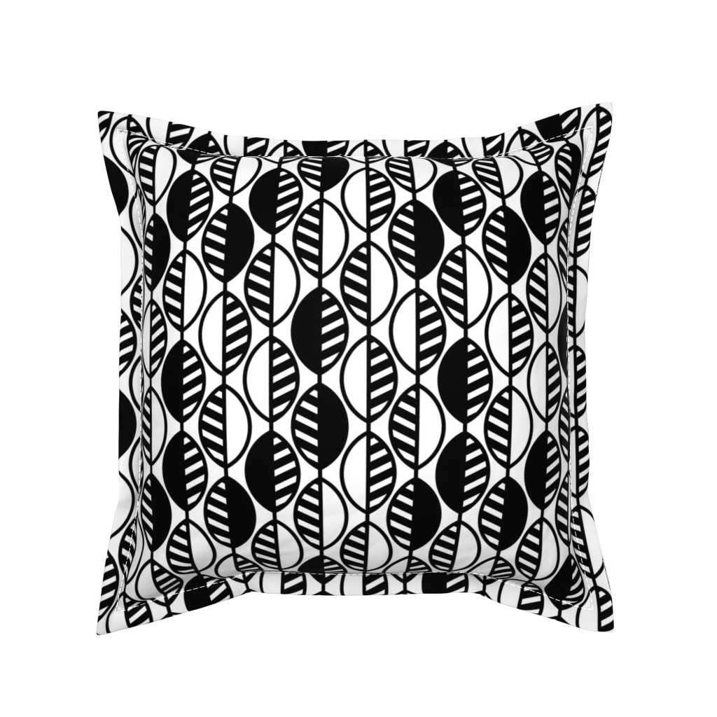 Serama Throw Pillow featuring Modern Leaves-Stripes-BW1 by twigged