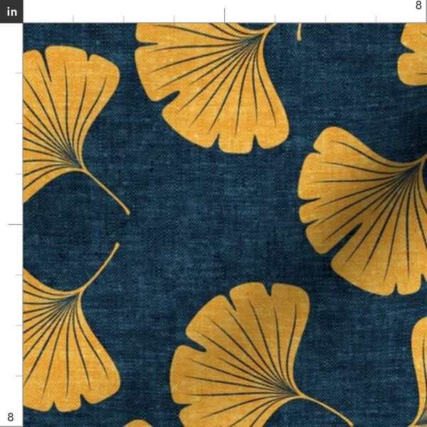 Ginkgo Leaves Saffron On Dark Blue L Spoonflower