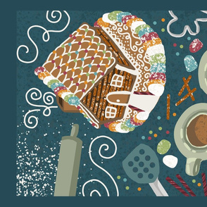 Let's Make a Gingerbread House - Tea Towel