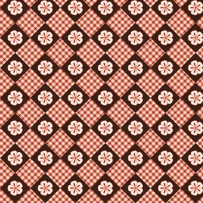 pink flower plaid