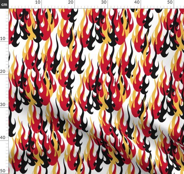 Calgary Flames Red Gold White Black Team Spoonflower