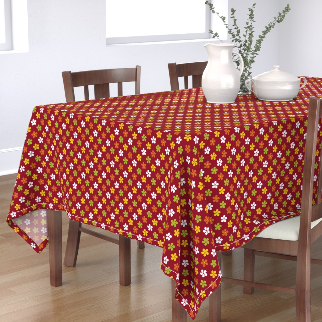 Bantam Rectangular Tablecloth featuring Flowers ~ Red by catsinredhats