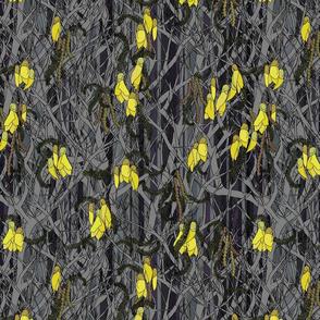Kowhai flowers on denim stripe