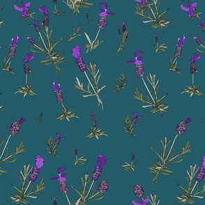 Lavender on dark turquoise