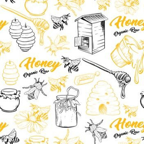 Sketched Bees Hand-drawn Honey