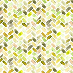 Mustard and peachy watercolor herringbone
