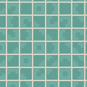 Teal cream textured check