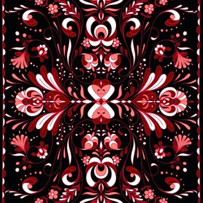 folk art tea towel hungarian black andpinks 2
