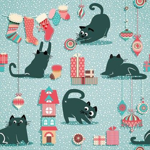 Vintage Christmas cats - small
