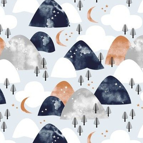 Watercolors mountain Range and winter trees moon clouds and stars baby blue navy gold