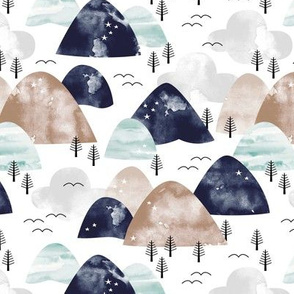 Watercolors mountain Range and winter trees minimal sky and birds