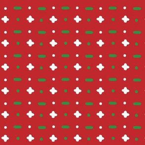 Christmas vector green and white horizontal and vertical stitches aligned on red background seamless pattern