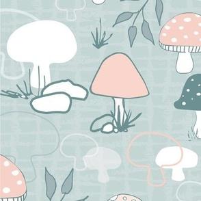 Pastel Mushrooms, Fungi and Toadstools